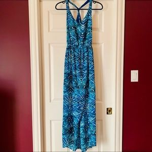 F21 Aqua Wave Halter Cutout Dress, size small